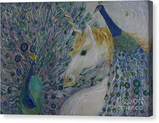 Peacocks With Unicorn Canvas Print
