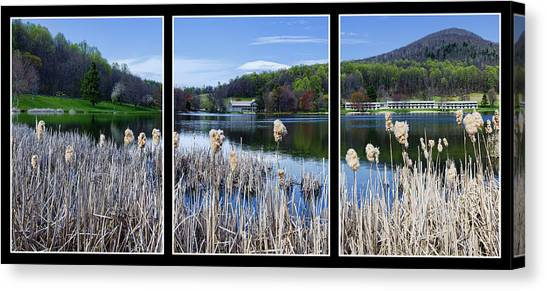 Peaks Of Otter Lodge Triptych Canvas Print