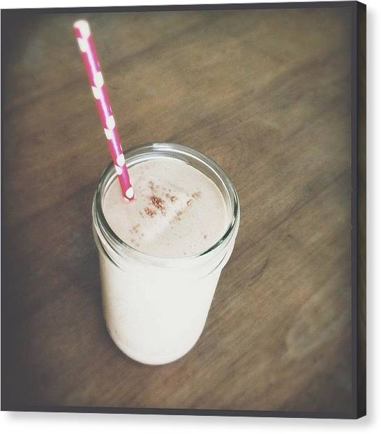 Smoothie Canvas Print - #peanutbutter #raw #cacao #banana by Jennifer Campbell