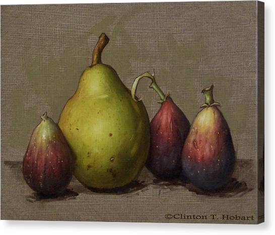 Pear Canvas Print - Pear And Figs by Clinton Hobart