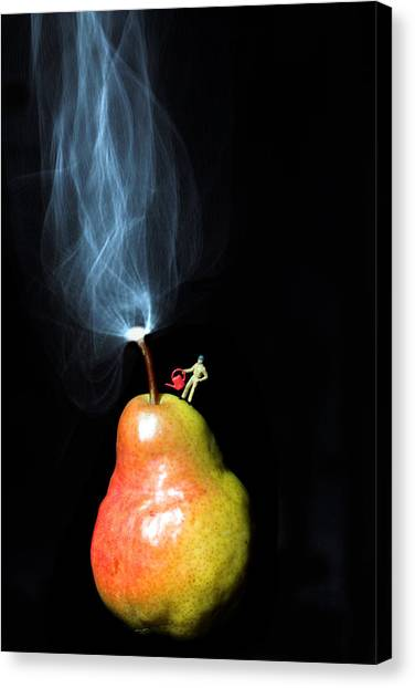 Pear And Smoke Little People On Food Canvas Print