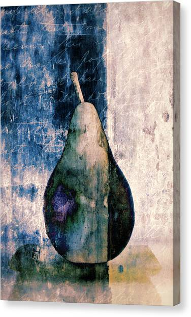 Gray Canvas Print - Pear In Blue by Carol Leigh