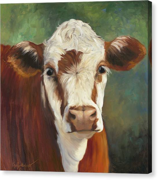 Cow Canvas Print - Pearl Iv Cow Painting by Cheri Wollenberg