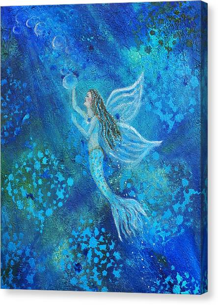 Angel Mermaids Ocean Canvas Print - Pearl Out Of The Depths by The Art With A Heart By Charlotte Phillips