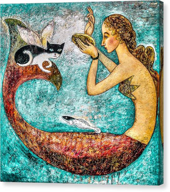 Mermaids Canvas Print - Pearl by Shijun Munns
