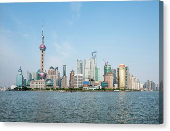 Shanghai Skyline Canvas Print - Pearl Tower Over Pudong District by Michael Defreitas