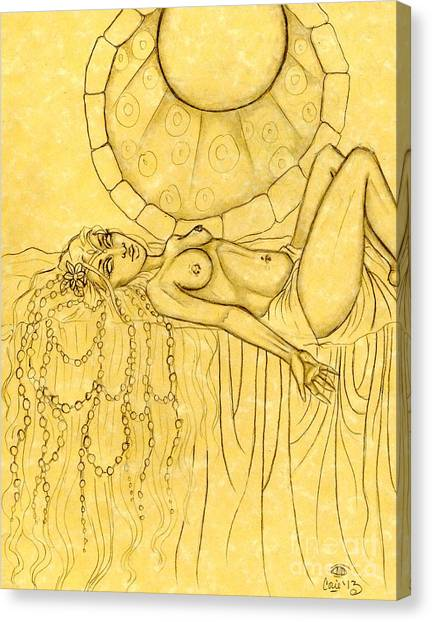 Pearls Entwined In Her Hair Sketch Canvas Print by Coriander  Shea