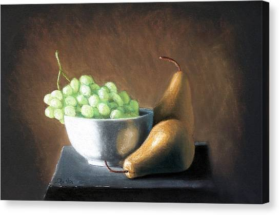 Pears And Grapes Canvas Print