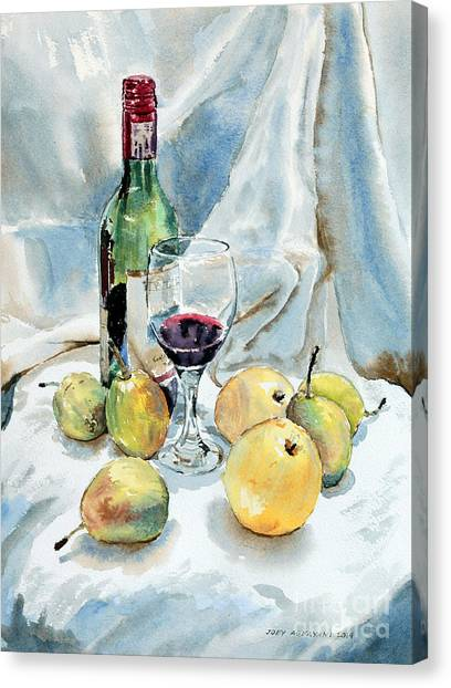 Pears And Wine Canvas Print