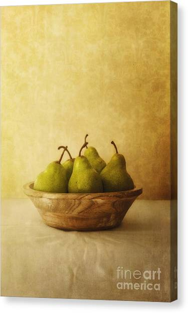 Tables Canvas Print - Pears In A Wooden Bowl by Priska Wettstein