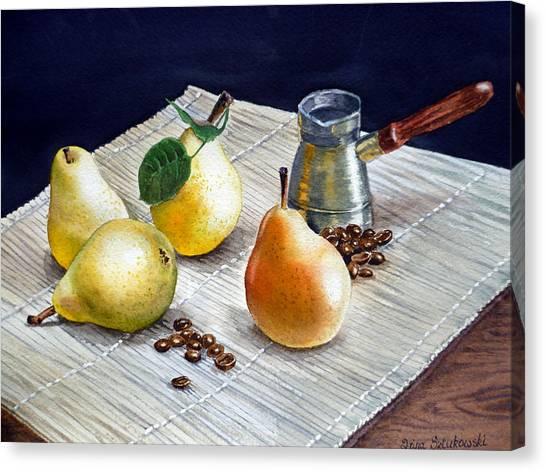 Coffee Beans Canvas Print - Pears by Irina Sztukowski