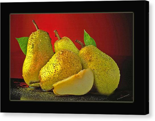 Pears On Red Background Canvas Print by Ed Hoppe