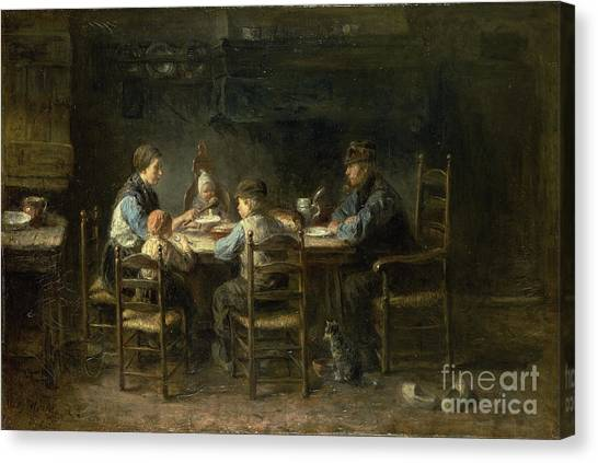 Torah Canvas Print - Peasant Family At The Table by Celestial Images