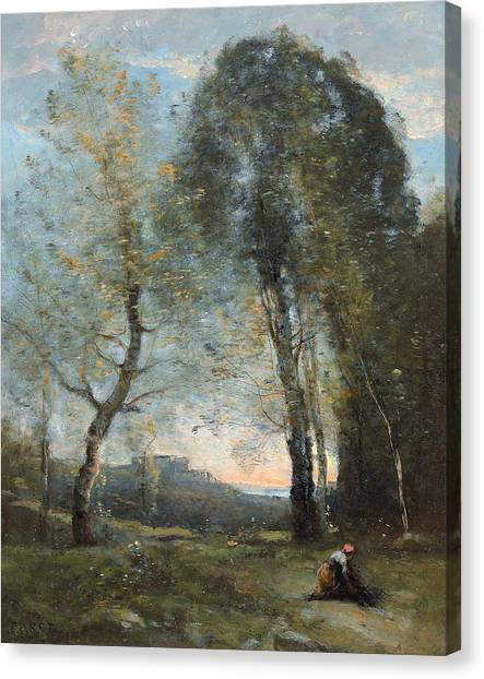 Camille Canvas Print - Peasant Woman Collecting Wood by Jean Baptiste Camille Corot