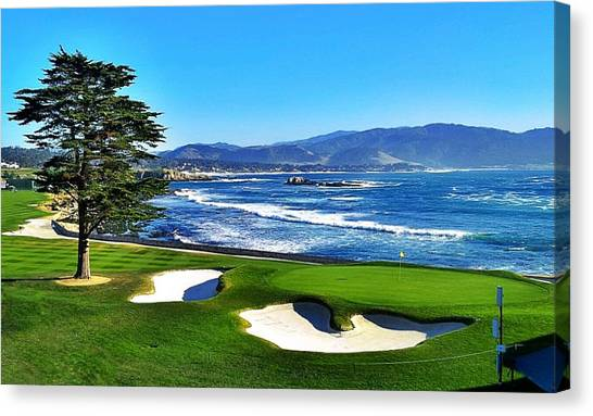 Golf Course Canvas Print - Pebble Beach 18th Hole by Robert Sebolt