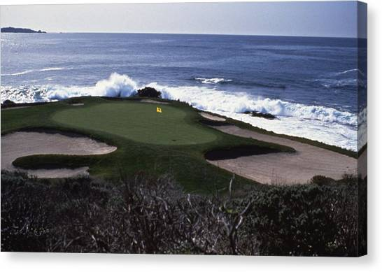 Golf Course Canvas Print - Pebble Beach 7th Hole by Retro Images Archive