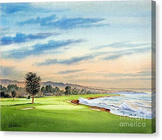 Pga Canvas Print - Pebble Beach Golf Course 18th Hole by Bill Holkham