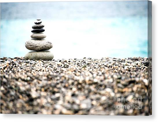 Canvas Print featuring the photograph Pebble Stone On Beach by Yew Kwang