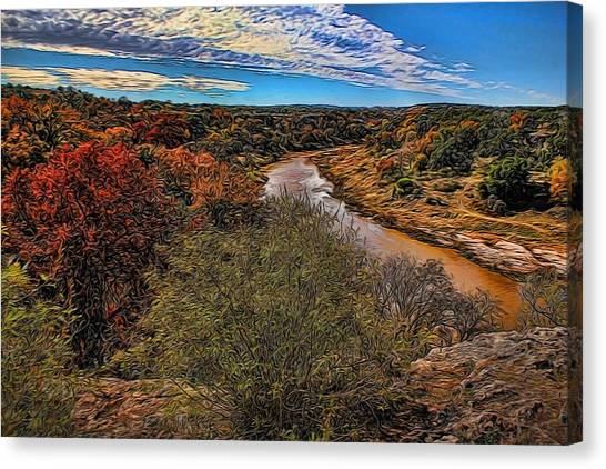 Brown Ranch Trail Canvas Print - Pedernales River Painted by Judy Vincent