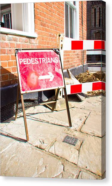Caution Canvas Print - Pedestrian Sign by Tom Gowanlock