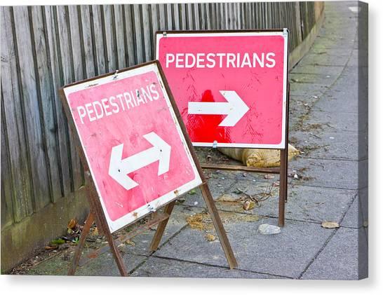Caution Canvas Print - Pedestrian Signs by Tom Gowanlock