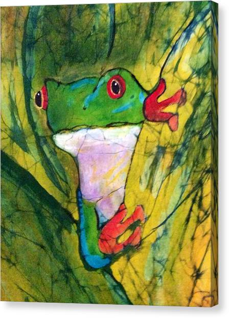 Peek-a-boo Frog Canvas Print