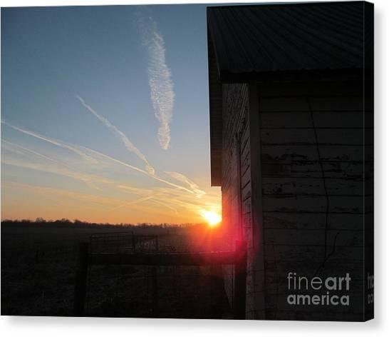 Peeking Through The Barn Sunrise Canvas Print
