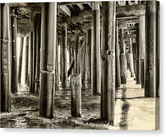 Peeking Under The Pier By Diana Sainz Canvas Print