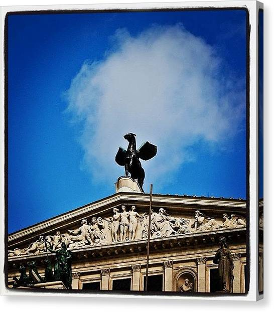 Pegasus Canvas Print - #pegasus Backed By A Light Cloud by Benjamin Donaldson