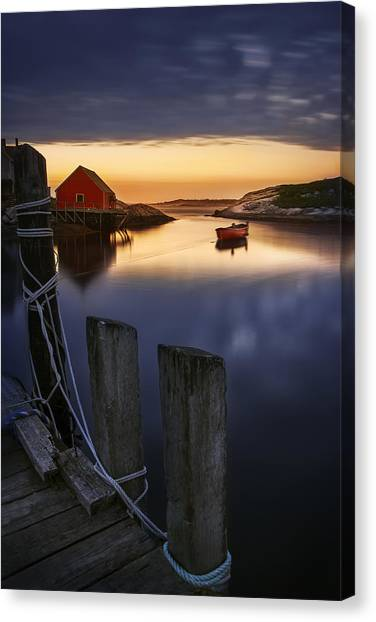 Lobster Canvas Print - Peggy's Cove Harbour by Magda  Bognar