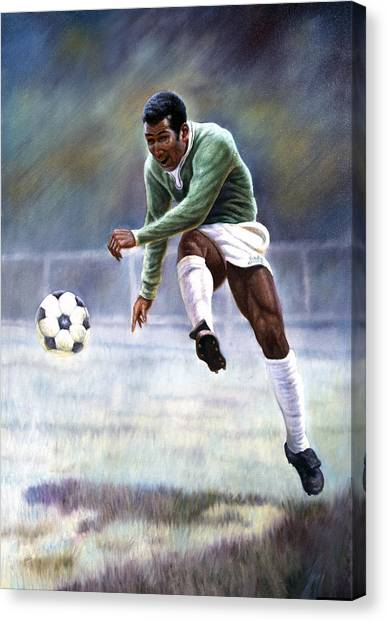 Soccer Leagues Canvas Print - Pele by Gregory Perillo