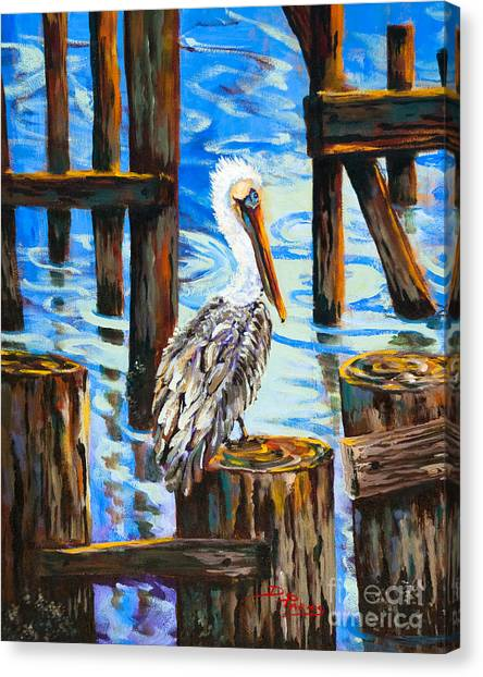 Pelican And Pilings Canvas Print