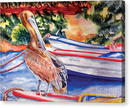 Pelican On A Ponga Canvas Print