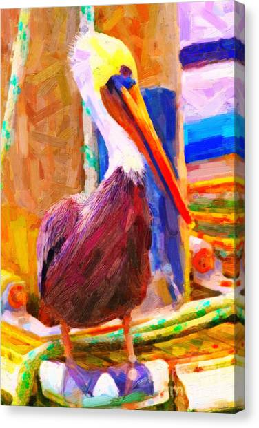 Big West Canvas Print - Pelican On The Dock by Wingsdomain Art and Photography
