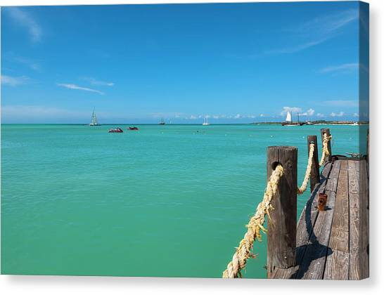 Pelican Pier And Ocean, Palm Beach Canvas Print