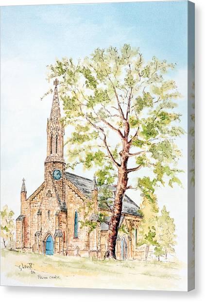 Church Yard Canvas Print - Pelton Church by George Levitt