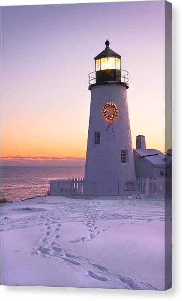 Maine Winter Canvas Print - Pemaquid Point Lighthouse Christmas Snow Wreath Maine by Keith Webber Jr