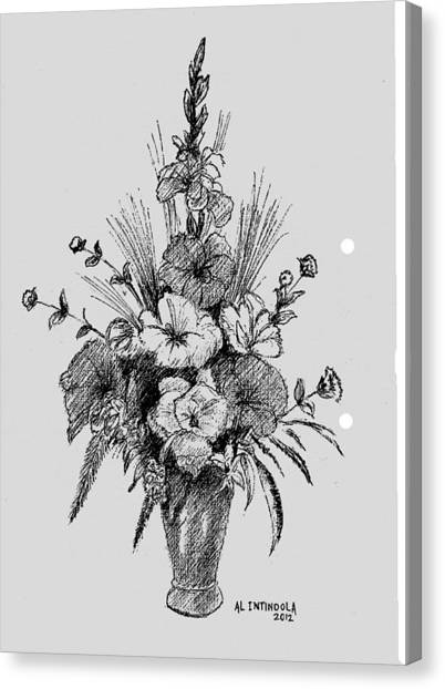 Pen And Ink Flowers Canvas Print