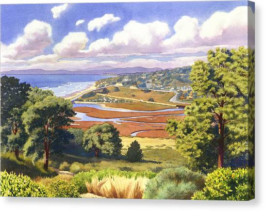 Mars Canvas Print - Penasquitos Lagoon With Clouds by Mary Helmreich