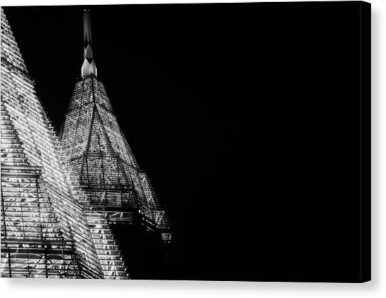 Pencil Building In Duplicate Canvas Print by Lisa Marie Pane