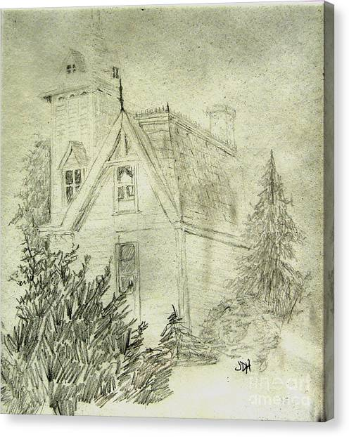 Pencil Sketch Of Old House Canvas Print