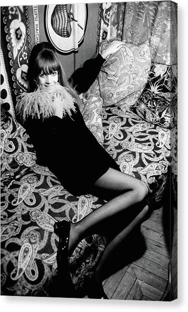 Penelope Tree Sitting On A Paisley Couch Canvas Print