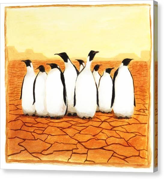 Antarctic Desert Canvas Print - Penguins by Steve Dininno