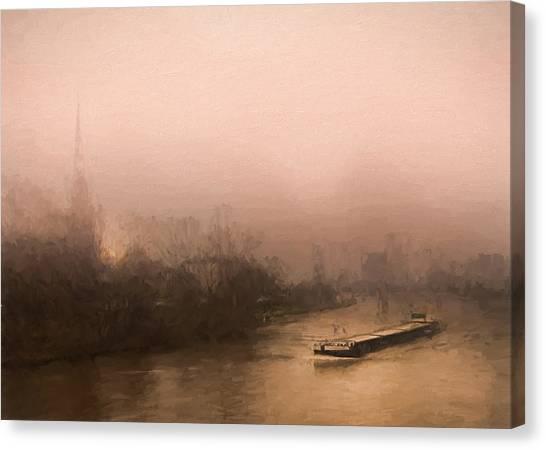 Peniche Sur La Riviere Main - Francfort  Canvas Print