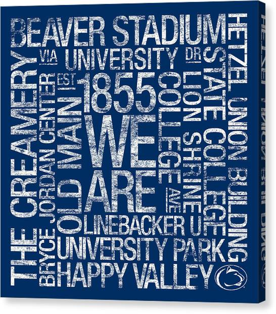 Linebackers Canvas Print - Penn State College Colors Subway Art by Replay Photos