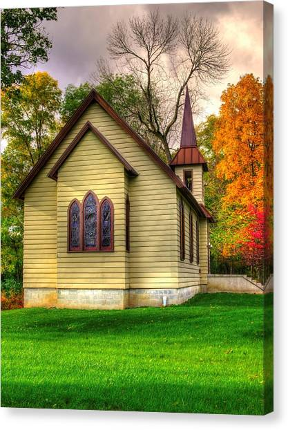 Pennsylvania Country Churches - Heckton Church At Fort Hunter Autumn - Dauphin County Canvas Print
