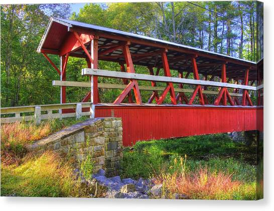 Pennsylvania Country Roads - Colvin Covered Bridge Over Shawnee Creek - Autumn Bedford County Canvas Print