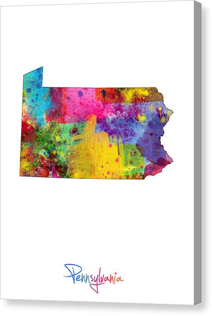 Geography Canvas Print - Pennsylvania Map by Michael Tompsett