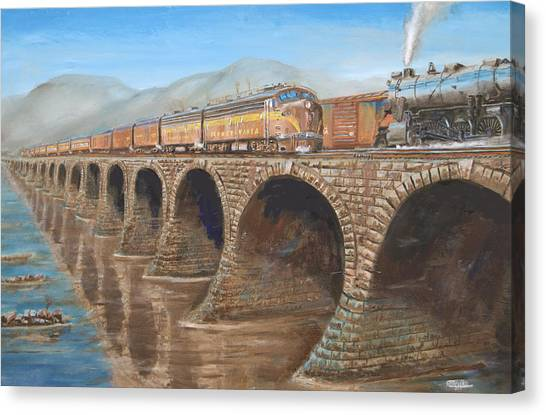 Steam Trains Canvas Print - Pennsylvania Railroad On The Rockville Bridge by Christopher Jenkins