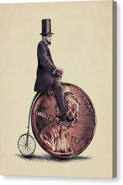 Money Canvas Print - Penny Farthing by Eric Fan